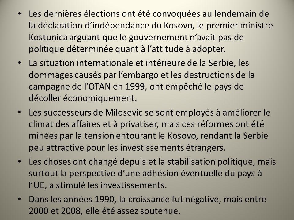 Les dernières élections ont été convoquées au lendemain de la déclaration dindépendance du Kosovo, le premier ministre Kostunica arguant que le gouver