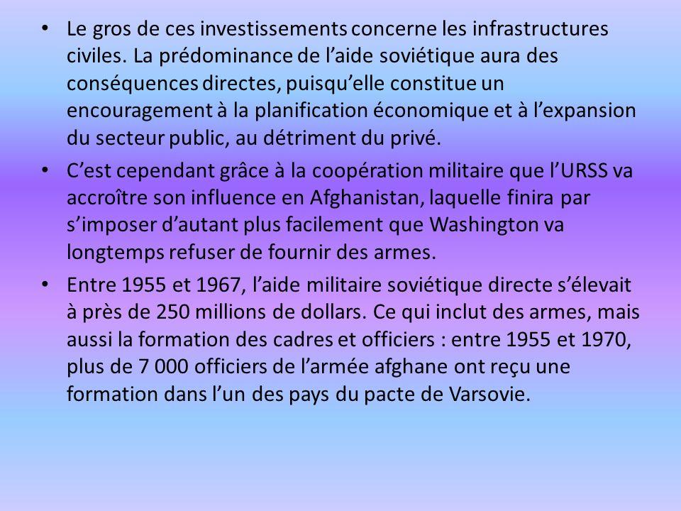 Le gros de ces investissements concerne les infrastructures civiles. La prédominance de laide soviétique aura des conséquences directes, puisquelle co