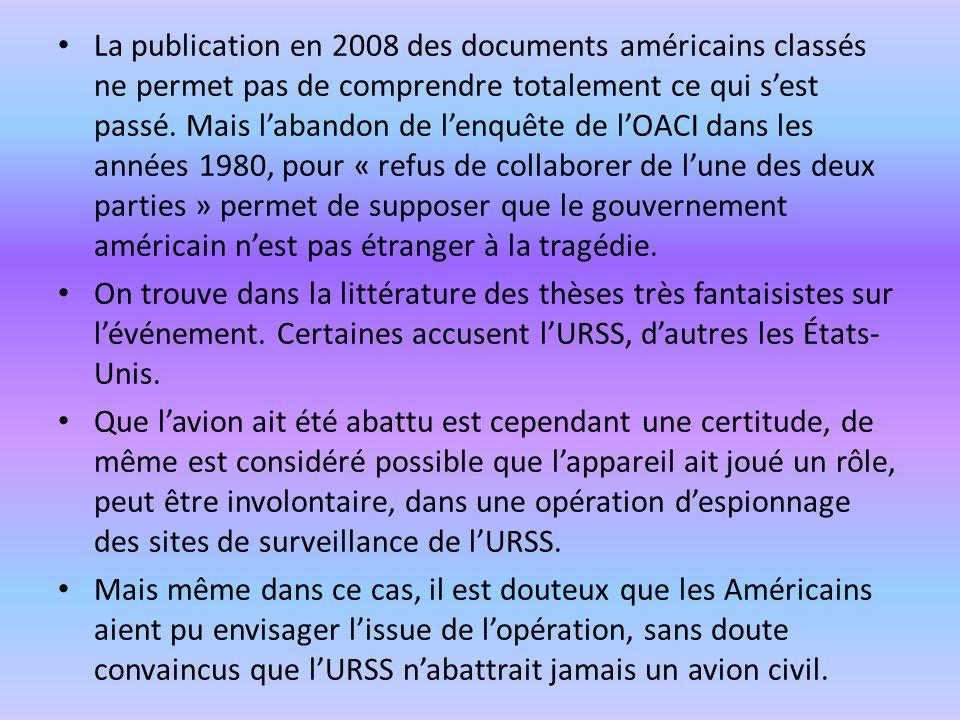 La publication en 2008 des documents américains classés ne permet pas de comprendre totalement ce qui sest passé. Mais labandon de lenquête de lOACI d
