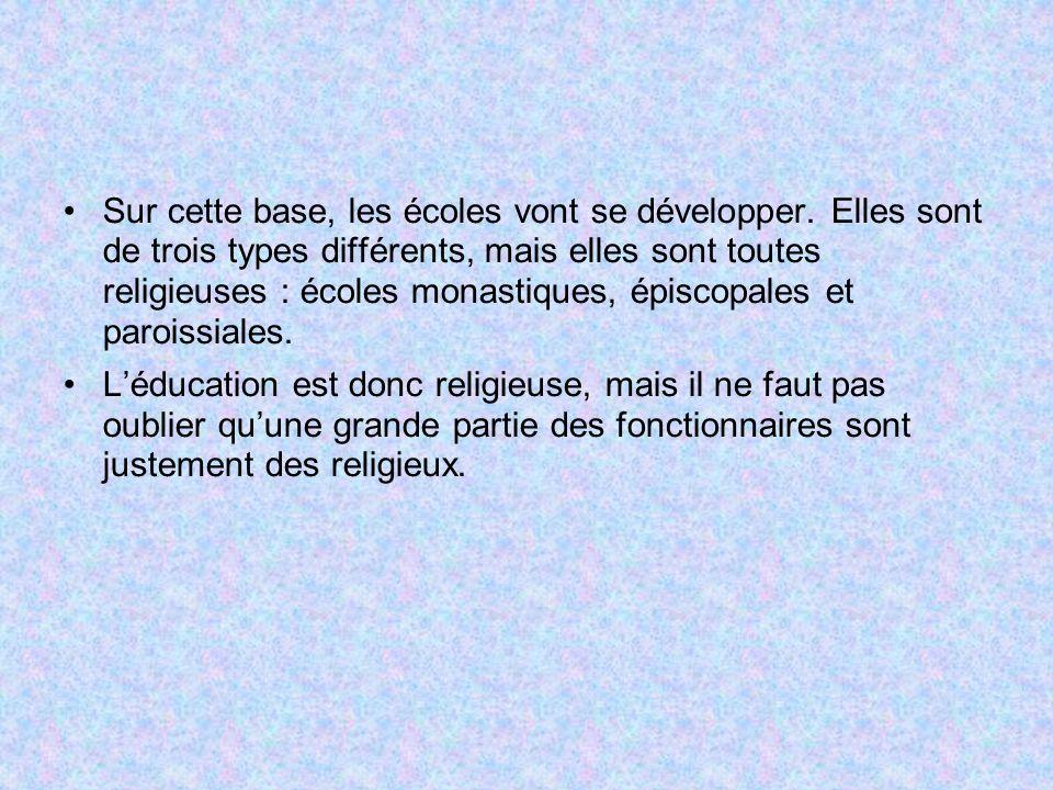 Sur cette base, les écoles vont se développer. Elles sont de trois types différents, mais elles sont toutes religieuses : écoles monastiques, épiscopa