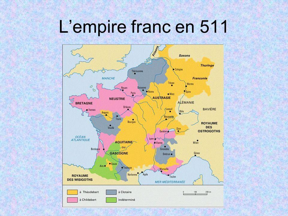 Charles obtint lAustrasie et le nord de la Neustrie; son frère aîné reçut le sud de la Neustrie, la Bourgogne et la Provence.