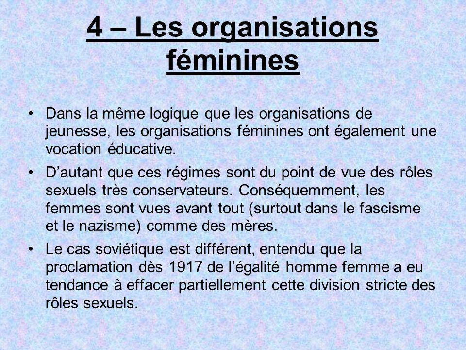 4 – Les organisations féminines Dans la même logique que les organisations de jeunesse, les organisations féminines ont également une vocation éducati