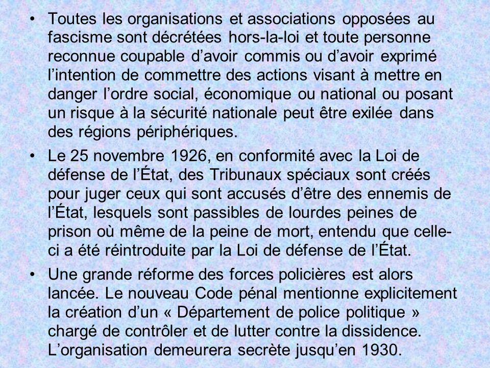 Toutes les organisations et associations opposées au fascisme sont décrétées hors-la-loi et toute personne reconnue coupable davoir commis ou davoir e