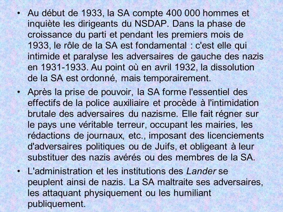 Au début de 1933, la SA compte 400 000 hommes et inquiète les dirigeants du NSDAP. Dans la phase de croissance du parti et pendant les premiers mois d