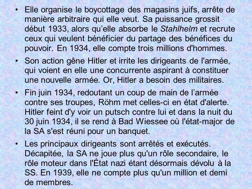 Elle organise le boycottage des magasins juifs, arrête de manière arbitraire qui elle veut. Sa puissance grossit début 1933, alors quelle absorbe le S