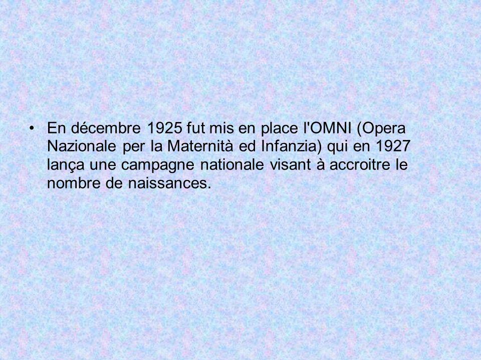 En décembre 1925 fut mis en place l'OMNI (Opera Nazionale per la Maternità ed Infanzia) qui en 1927 lança une campagne nationale visant à accroitre le