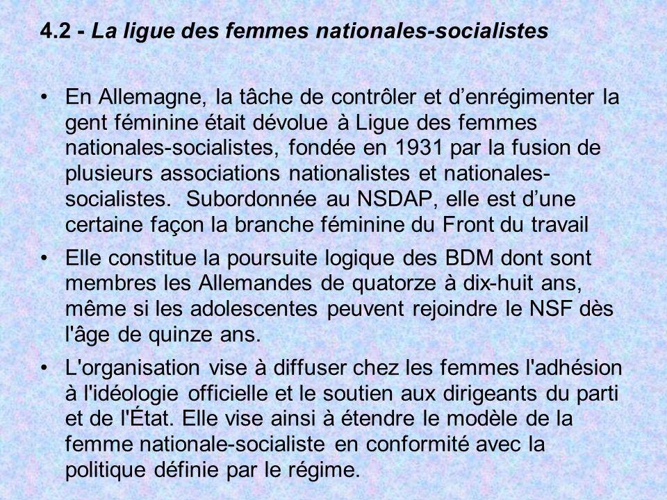 4.2 - La ligue des femmes nationales-socialistes En Allemagne, la tâche de contrôler et denrégimenter la gent féminine était dévolue à Ligue des femme