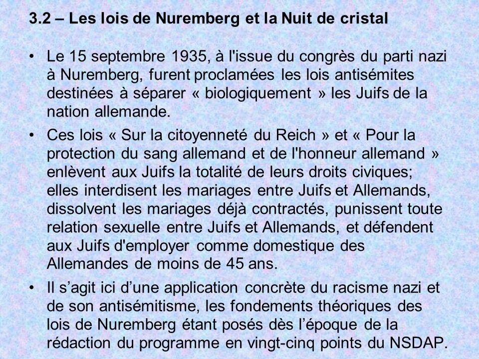 3.2 – Les lois de Nuremberg et la Nuit de cristal Le 15 septembre 1935, à l'issue du congrès du parti nazi à Nuremberg, furent proclamées les lois ant