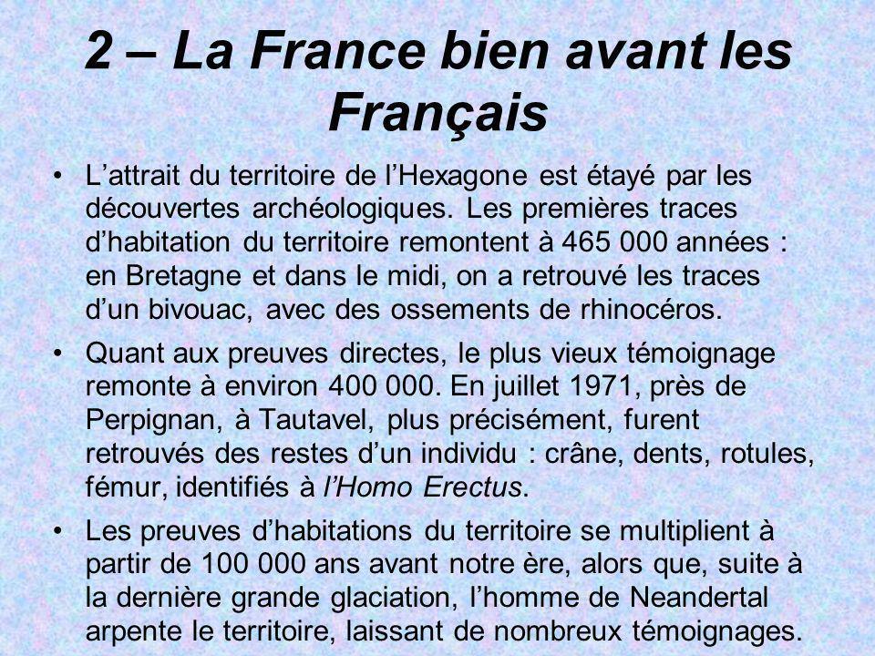 2 – La France bien avant les Français Lattrait du territoire de lHexagone est étayé par les découvertes archéologiques. Les premières traces dhabitati