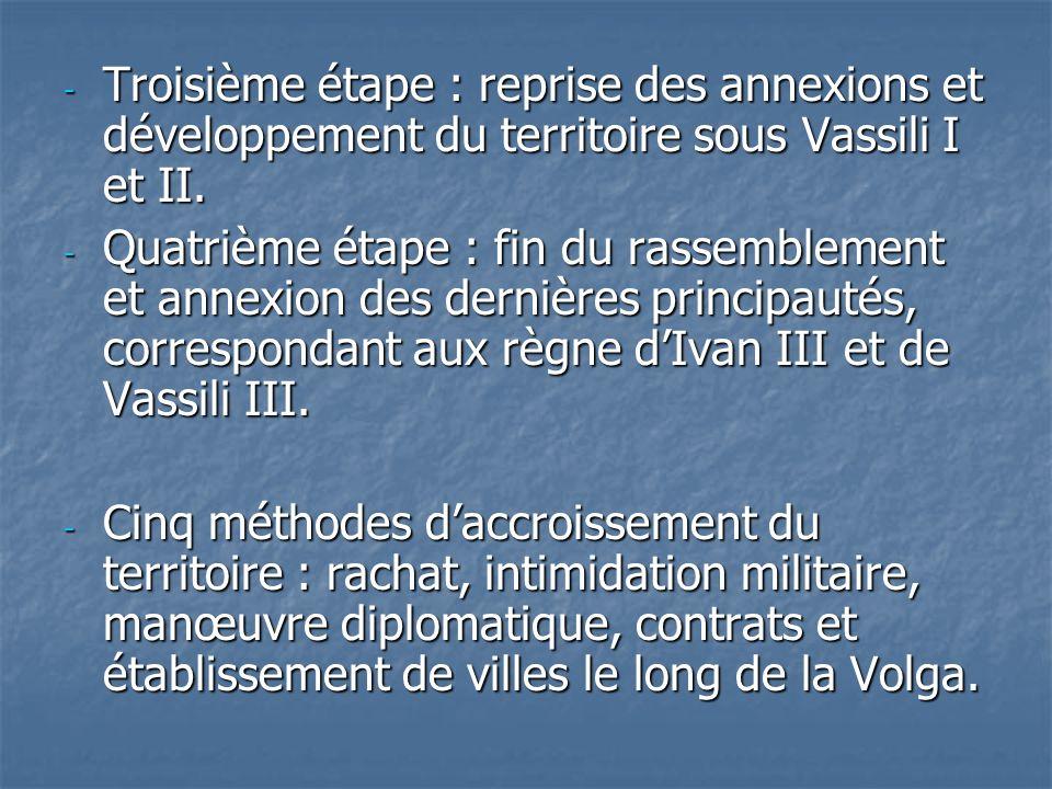 - Troisième étape : reprise des annexions et développement du territoire sous Vassili I et II. - Quatrième étape : fin du rassemblement et annexion de