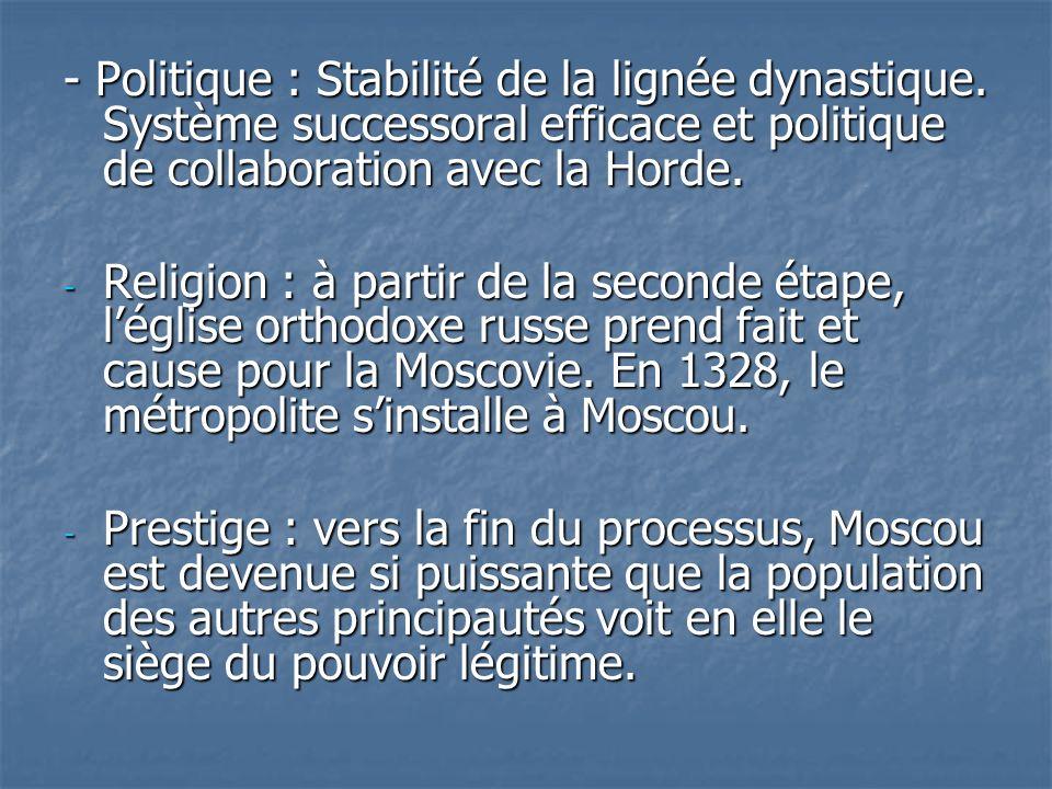 - Politique : Stabilité de la lignée dynastique. Système successoral efficace et politique de collaboration avec la Horde. - Religion : à partir de la