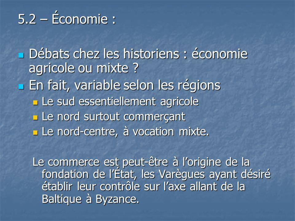 5.2 – Économie : Débats chez les historiens : économie agricole ou mixte ? Débats chez les historiens : économie agricole ou mixte ? En fait, variable