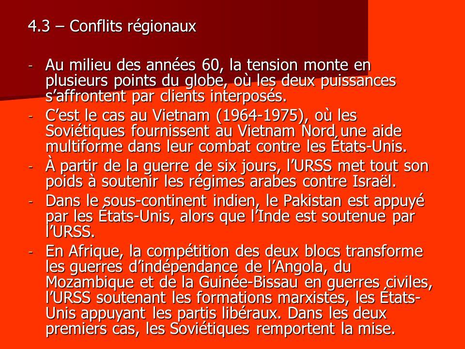 4.3 – Conflits régionaux - Au milieu des années 60, la tension monte en plusieurs points du globe, où les deux puissances saffrontent par clients interposés.