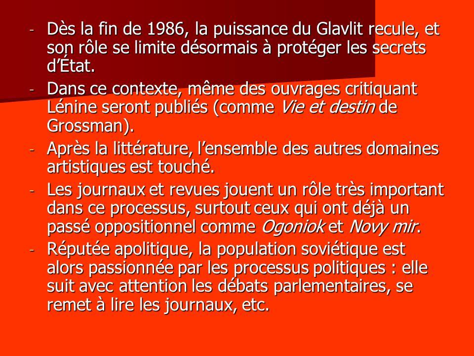 - Dès la fin de 1986, la puissance du Glavlit recule, et son rôle se limite désormais à protéger les secrets dÉtat.