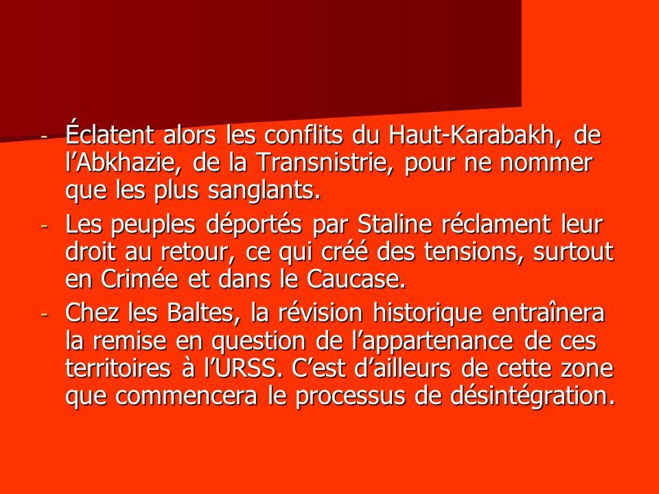 - Éclatent alors les conflits du Haut-Karabakh, de lAbkhazie, de la Transnistrie, pour ne nommer que les plus sanglants.