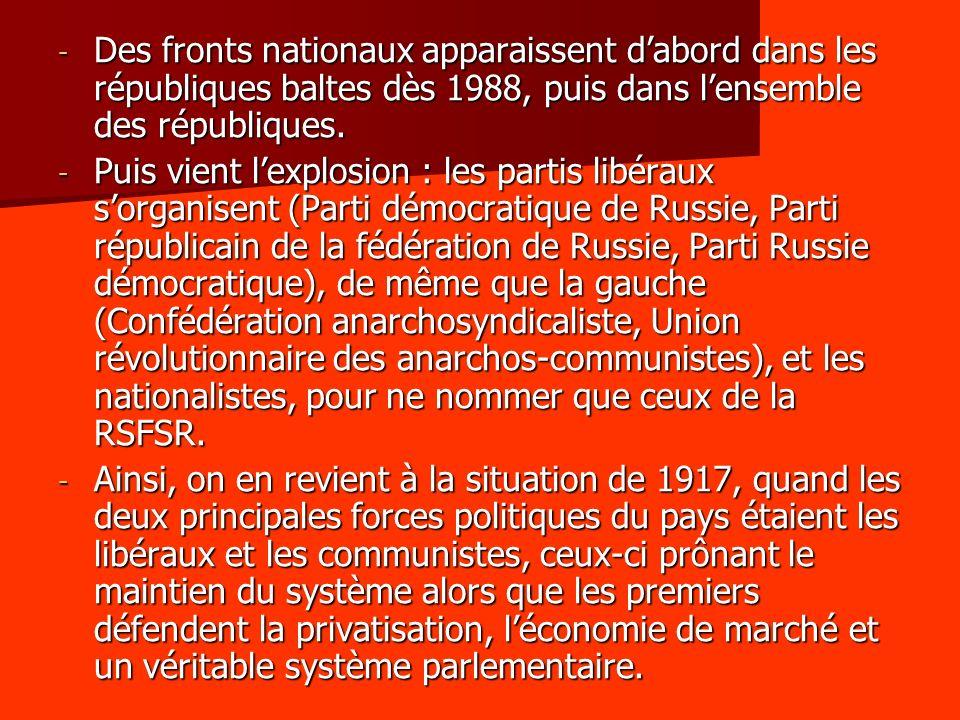 - Des fronts nationaux apparaissent dabord dans les républiques baltes dès 1988, puis dans lensemble des républiques.