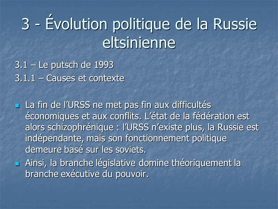 3 - Évolution politique de la Russie eltsinienne 3.1 – Le putsch de 1993 3.1.1 – Causes et contexte La fin de lURSS ne met pas fin aux difficultés éco