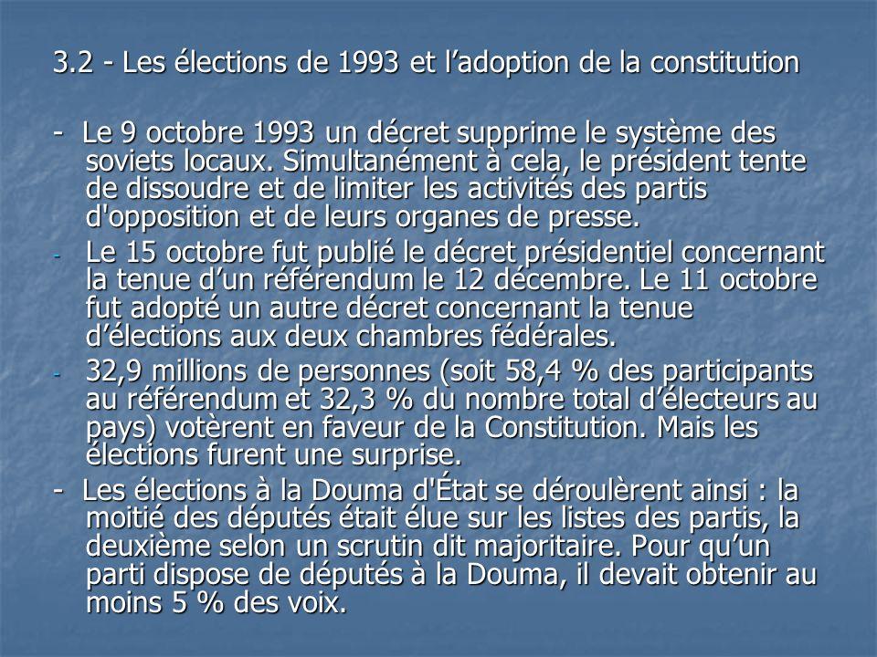 3.2 - Les élections de 1993 et ladoption de la constitution - Le 9 octobre 1993 un décret supprime le système des soviets locaux. Simultanément à cela