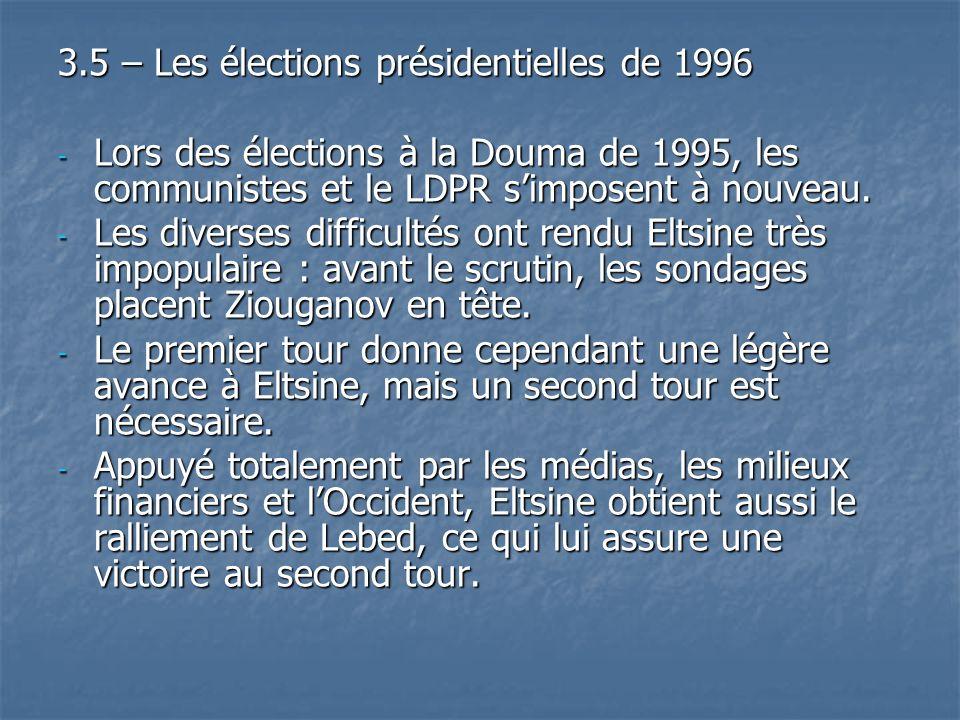 3.5 – Les élections présidentielles de 1996 - Lors des élections à la Douma de 1995, les communistes et le LDPR simposent à nouveau. - Les diverses di