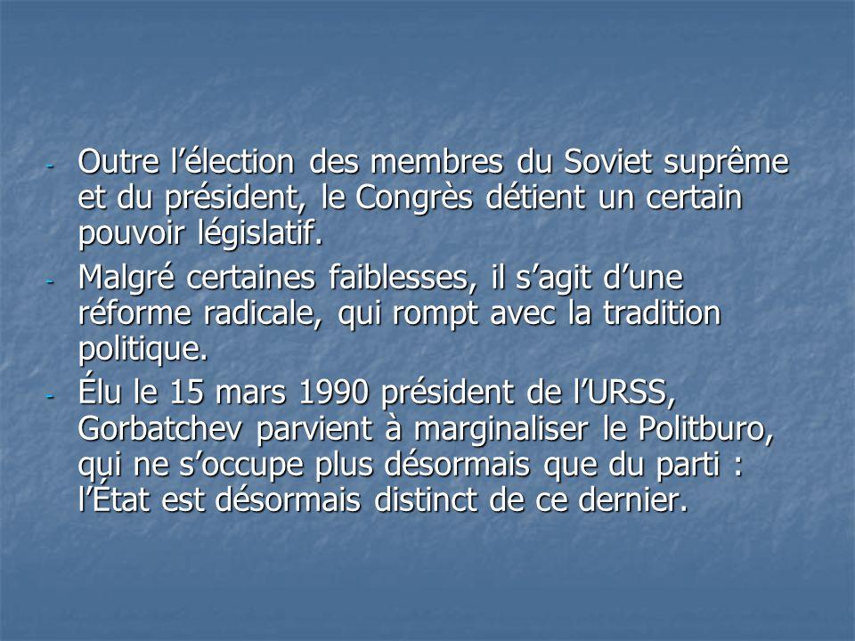 - Outre lélection des membres du Soviet suprême et du président, le Congrès détient un certain pouvoir législatif. - Malgré certaines faiblesses, il s