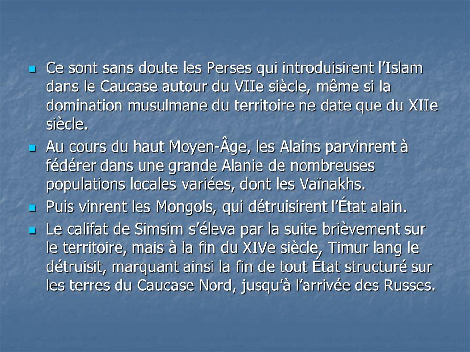 Ce sont sans doute les Perses qui introduisirent lIslam dans le Caucase autour du VIIe siècle, même si la domination musulmane du territoire ne date q