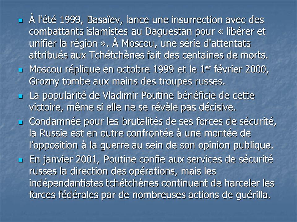 À l'été 1999, Basaïev, lance une insurrection avec des combattants islamistes au Daguestan pour « libérer et unifier la région ». À Moscou, une série