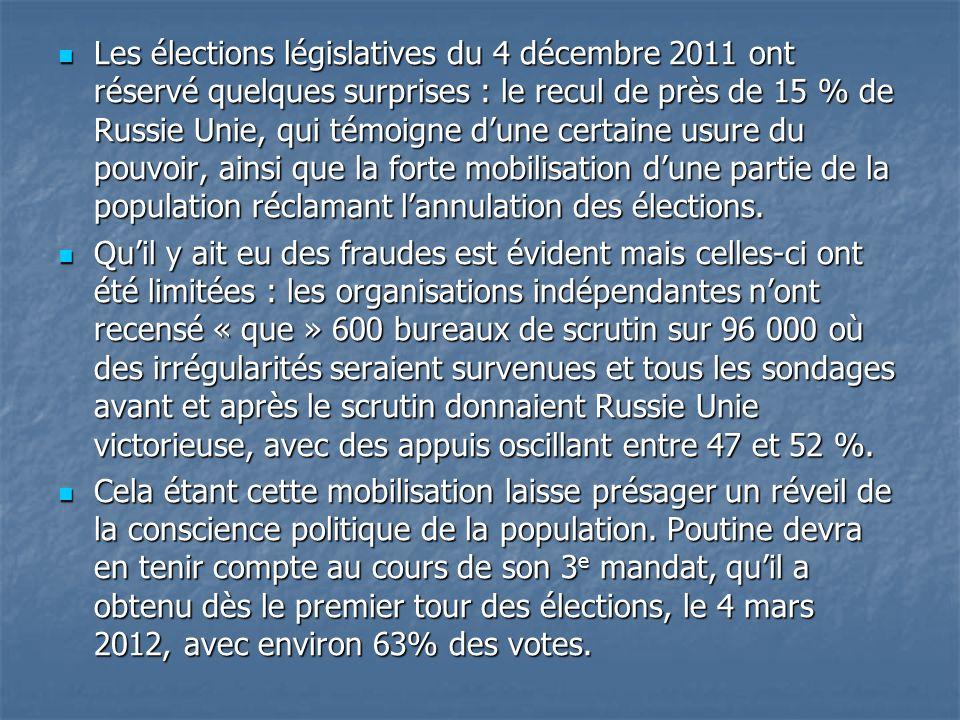 Les élections législatives du 4 décembre 2011 ont réservé quelques surprises : le recul de près de 15 % de Russie Unie, qui témoigne dune certaine usu