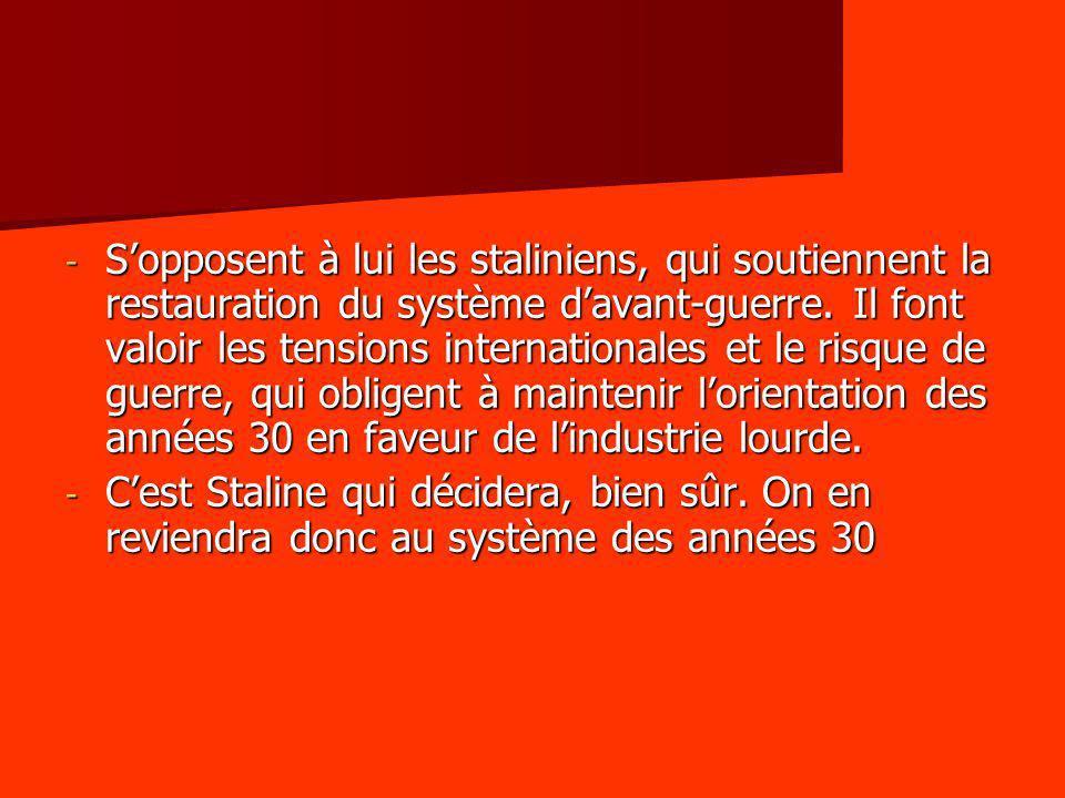 - Sopposent à lui les staliniens, qui soutiennent la restauration du système davant-guerre. Il font valoir les tensions internationales et le risque d