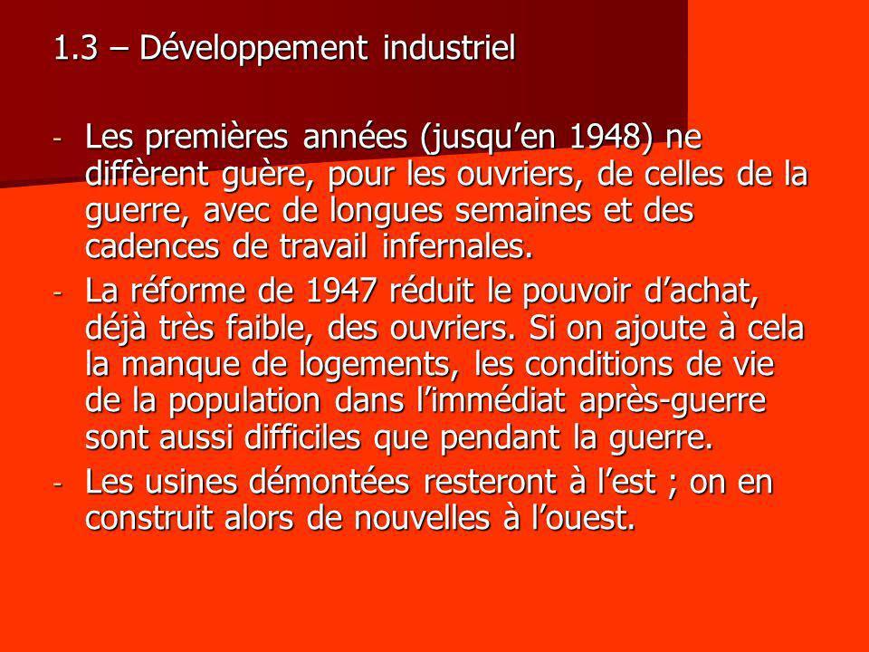 1.3 – Développement industriel - Les premières années (jusquen 1948) ne diffèrent guère, pour les ouvriers, de celles de la guerre, avec de longues se