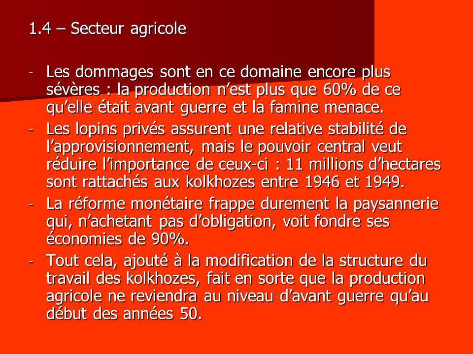 1.4 – Secteur agricole - Les dommages sont en ce domaine encore plus sévères : la production nest plus que 60% de ce quelle était avant guerre et la f