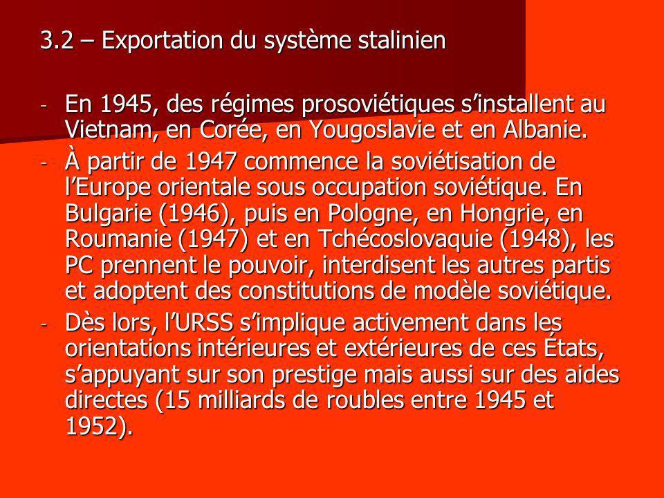 3.2 – Exportation du système stalinien - En 1945, des régimes prosoviétiques sinstallent au Vietnam, en Corée, en Yougoslavie et en Albanie. - À parti