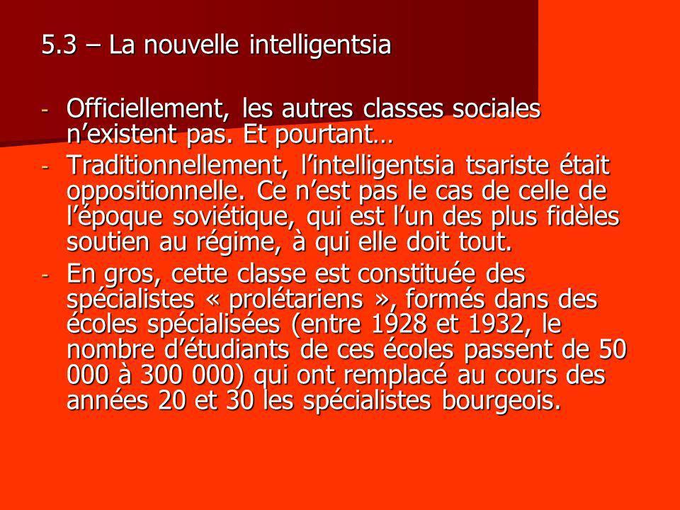 5.3 – La nouvelle intelligentsia - Officiellement, les autres classes sociales nexistent pas. Et pourtant… - Traditionnellement, lintelligentsia tsari