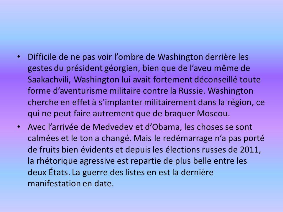 Difficile de ne pas voir lombre de Washington derrière les gestes du président géorgien, bien que de laveu même de Saakachvili, Washington lui avait f