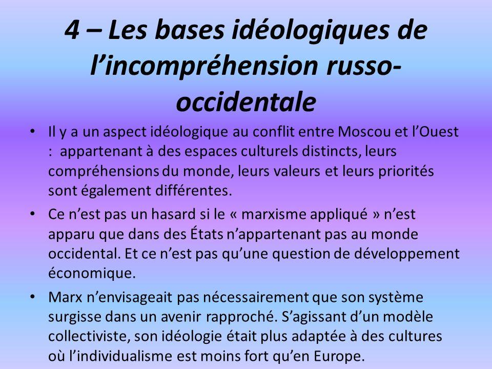4 – Les bases idéologiques de lincompréhension russo- occidentale Il y a un aspect idéologique au conflit entre Moscou et lOuest : appartenant à des e