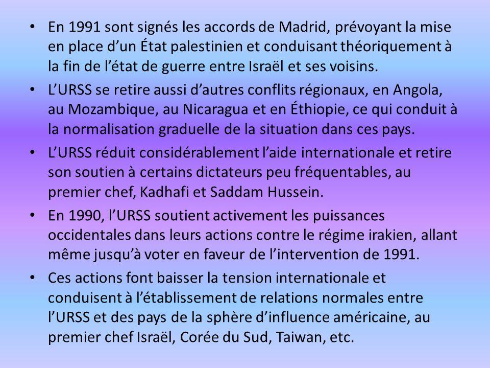 En 1991 sont signés les accords de Madrid, prévoyant la mise en place dun État palestinien et conduisant théoriquement à la fin de létat de guerre ent