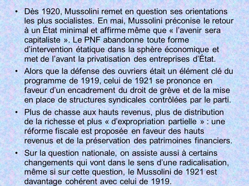 Dès 1920, Mussolini remet en question ses orientations les plus socialistes. En mai, Mussolini préconise le retour à un État minimal et affirme même q