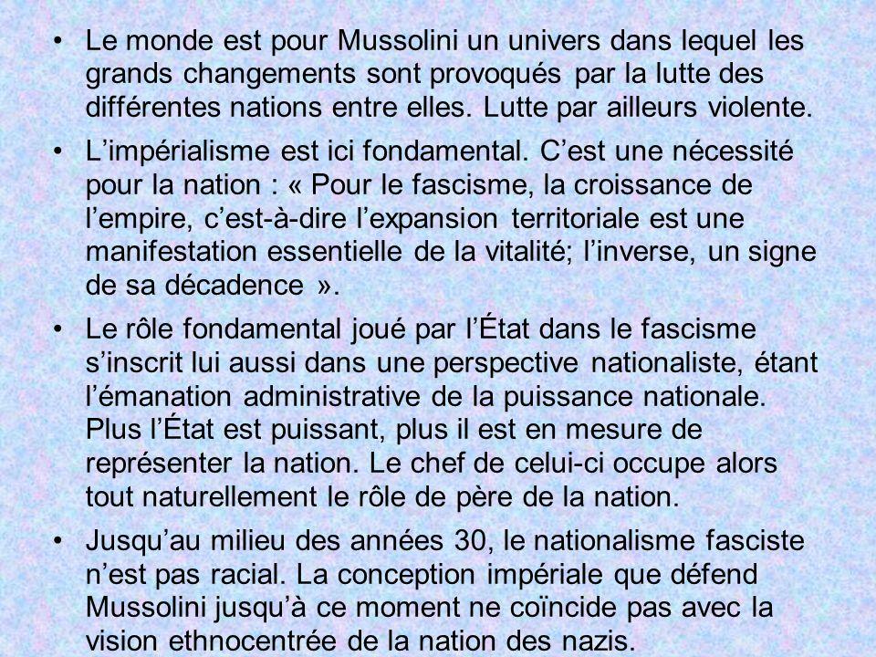 Le monde est pour Mussolini un univers dans lequel les grands changements sont provoqués par la lutte des différentes nations entre elles. Lutte par a
