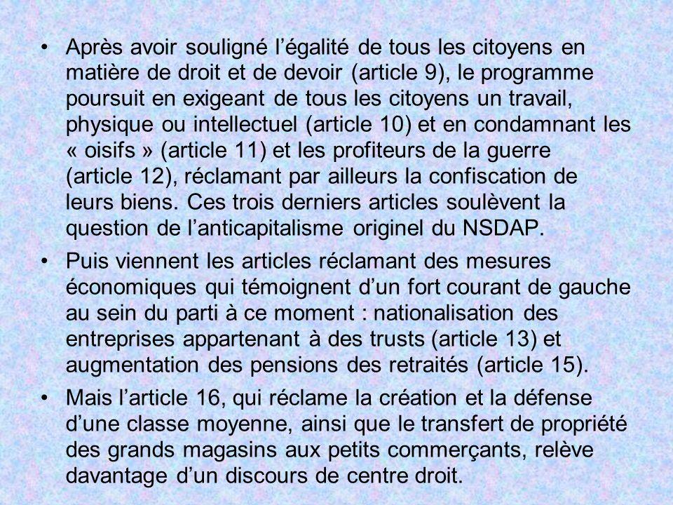 Après avoir souligné légalité de tous les citoyens en matière de droit et de devoir (article 9), le programme poursuit en exigeant de tous les citoyen