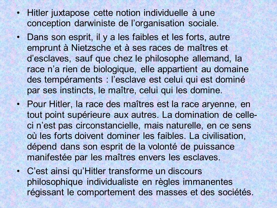 Hitler juxtapose cette notion individuelle à une conception darwiniste de lorganisation sociale. Dans son esprit, il y a les faibles et les forts, aut