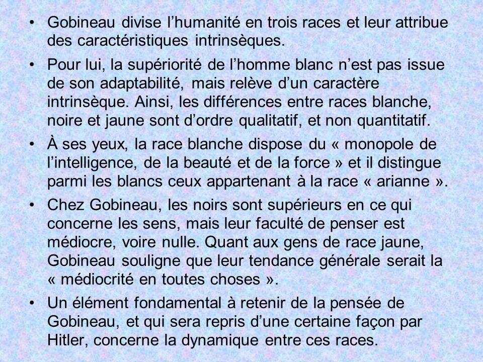 Gobineau divise lhumanité en trois races et leur attribue des caractéristiques intrinsèques. Pour lui, la supériorité de lhomme blanc nest pas issue d
