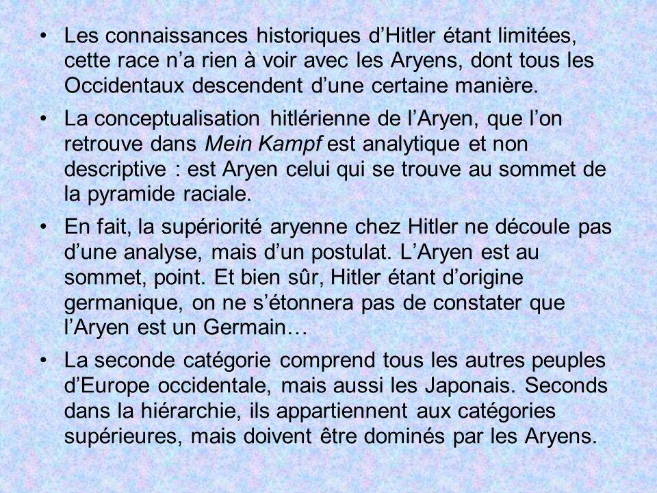 Les connaissances historiques dHitler étant limitées, cette race na rien à voir avec les Aryens, dont tous les Occidentaux descendent dune certaine ma