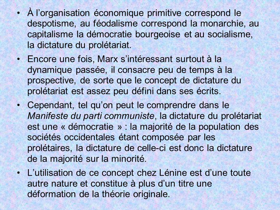 À lorganisation économique primitive correspond le despotisme, au féodalisme correspond la monarchie, au capitalisme la démocratie bourgeoise et au so