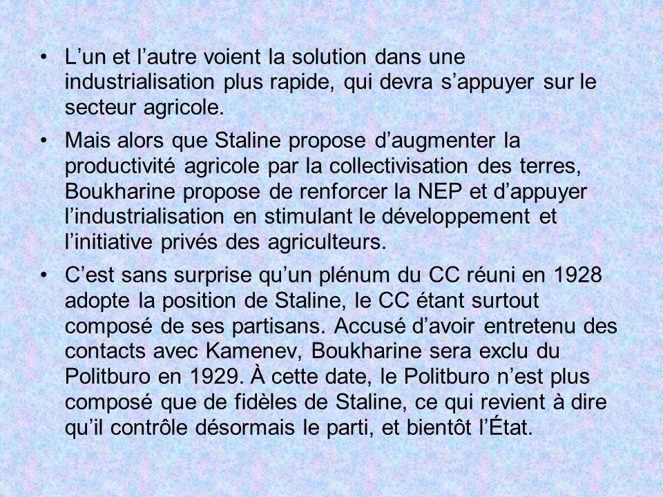 Lun et lautre voient la solution dans une industrialisation plus rapide, qui devra sappuyer sur le secteur agricole. Mais alors que Staline propose da