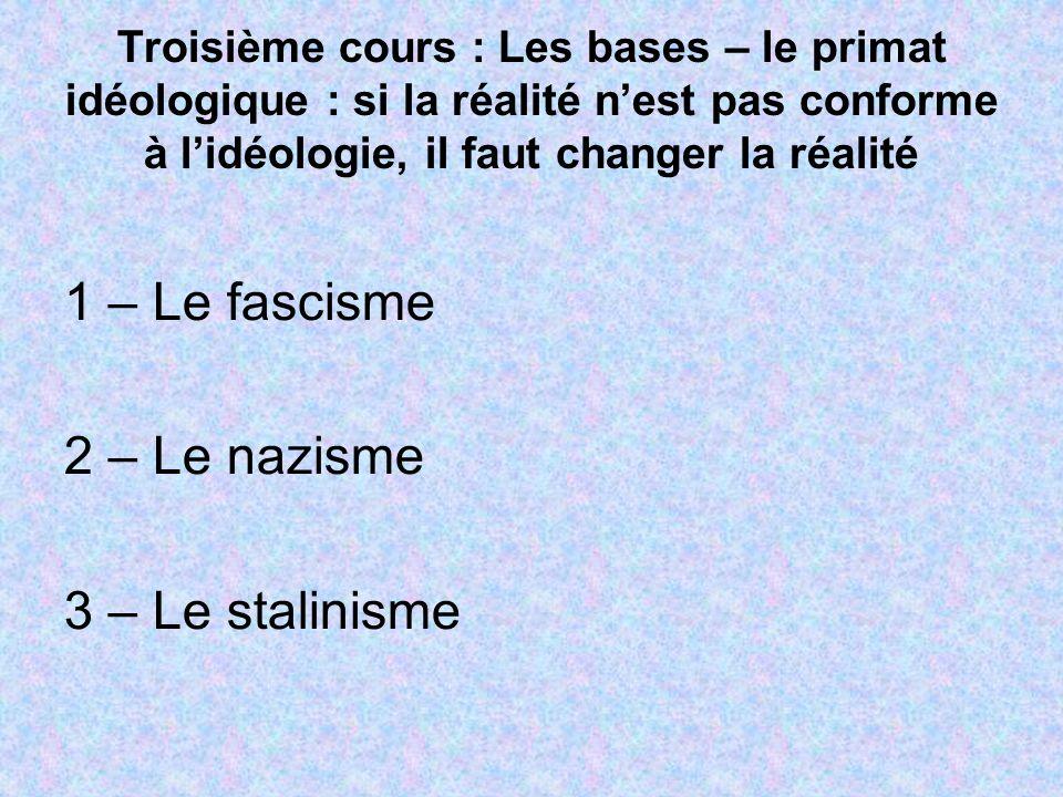 Troisième cours : Les bases – le primat idéologique : si la réalité nest pas conforme à lidéologie, il faut changer la réalité 1 – Le fascisme 2 – Le