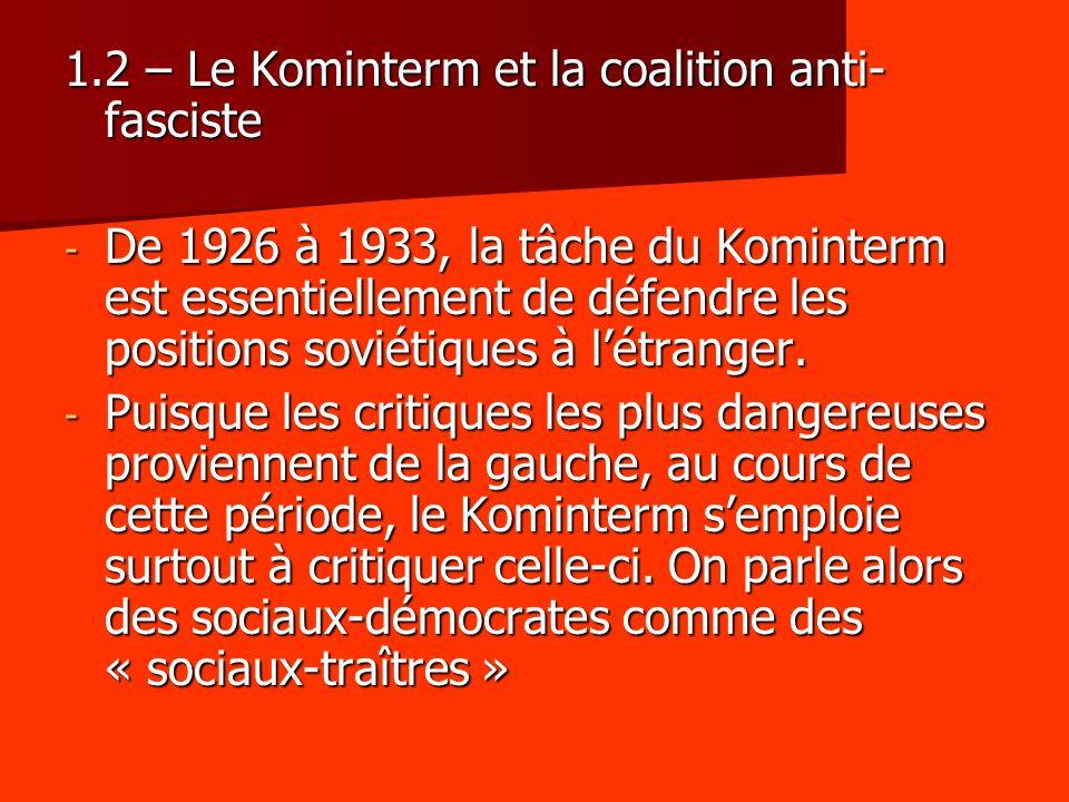 1.2 – Le Kominterm et la coalition anti- fasciste - De 1926 à 1933, la tâche du Kominterm est essentiellement de défendre les positions soviétiques à
