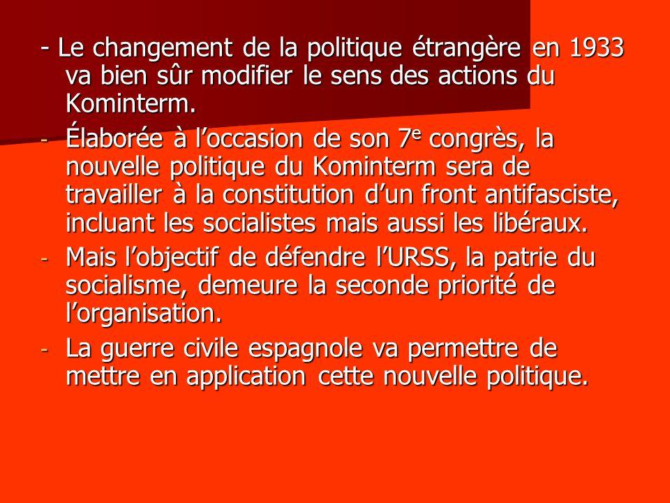 - Le changement de la politique étrangère en 1933 va bien sûr modifier le sens des actions du Kominterm. - Élaborée à loccasion de son 7 e congrès, la