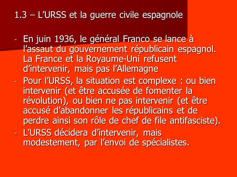 1.3 – LURSS et la guerre civile espagnole - En juin 1936, le général Franco se lance à lassaut du gouvernement républicain espagnol. La France et la R