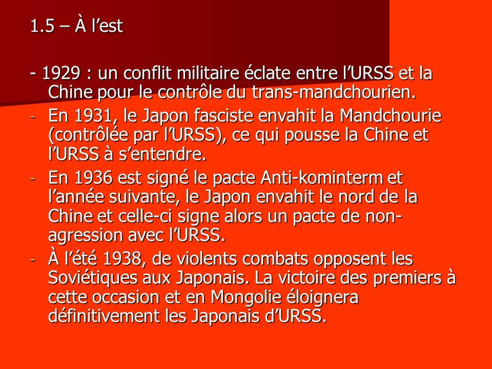1.5 – À lest - 1929 : un conflit militaire éclate entre lURSS et la Chine pour le contrôle du trans-mandchourien. - En 1931, le Japon fasciste envahit
