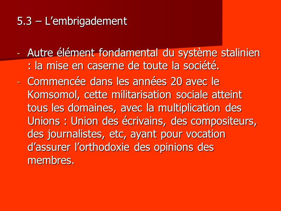 5.3 – Lembrigadement - Autre élément fondamental du système stalinien : la mise en caserne de toute la société. - Commencée dans les années 20 avec le