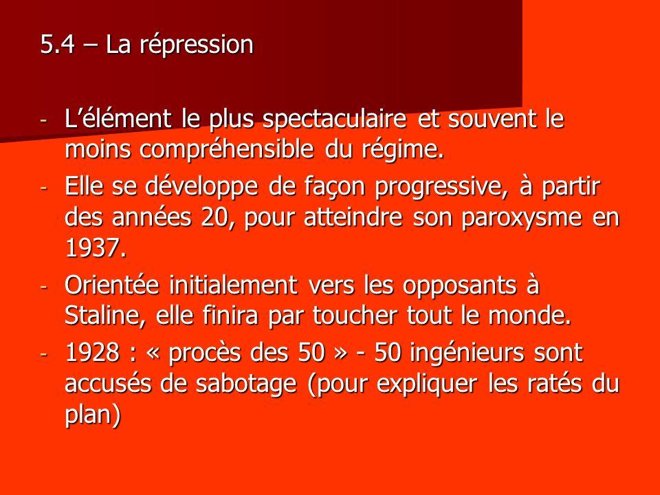 5.4 – La répression - Lélément le plus spectaculaire et souvent le moins compréhensible du régime. - Elle se développe de façon progressive, à partir